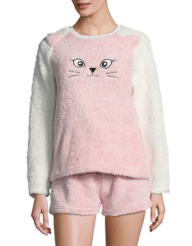 Roudelain Two-Piece Critter Raglan Faux Fur Set-CAMEO PINK-Small