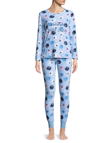 Roudelain Bad Hair Day Pyjama Set-BLUE-Large