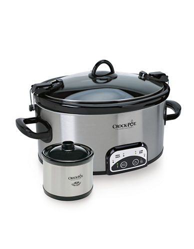 Crock Pot Cook and Carry Smart-Pot Slow Cooker with Little Dipper Warmer-STAINLESS STEEL-One Size