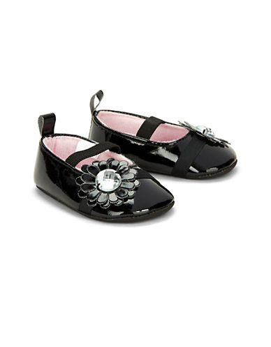 Little Me Mary Jane Flower Shoes-BLACK-9-12 Months