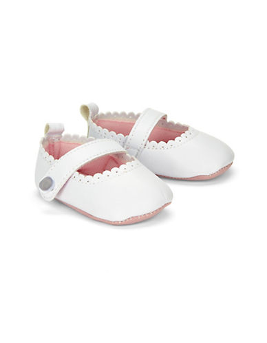 Little Me Scalloped Mary Jane Shoes-WHITE-6-9 Months