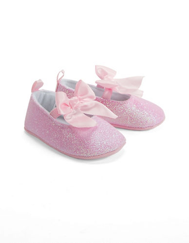 Little Me Glitter Mary Jane Bow Shoes-PINK-0-6 Months