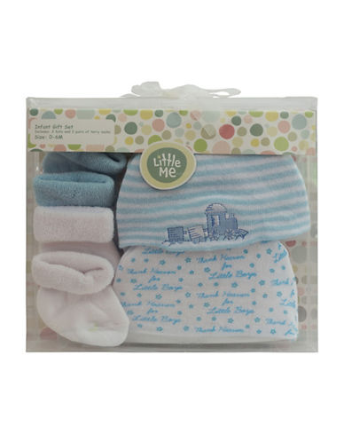 Little Me Thank Heaven Booties Set of Two Pairs-BLUE-0-6 Months