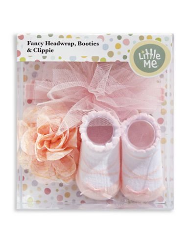 Little Me Fancy Headwrap, Booties and Clippie Set-PINK-0-12 Months