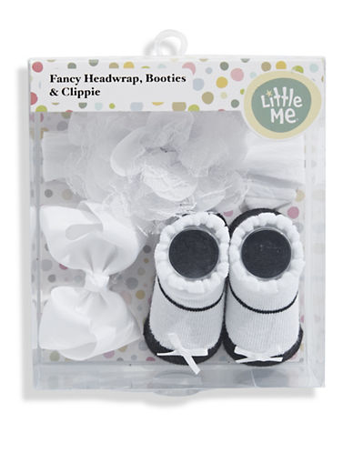Little Me Headwrap, Booties and Clippie Set-WHITE-0-12 Months