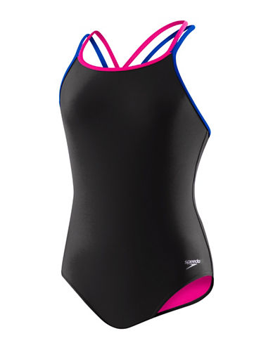 Speedo Cross Back One-Piece Swimsuit-BLACK-12