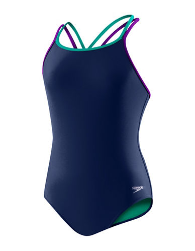 Speedo Cross Back One-Piece Swimsuit-BLUE-10