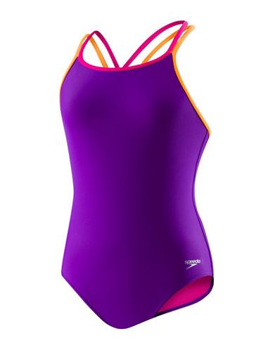 Speedo Cross Back One-Piece Swimsuit-PURPLE-8