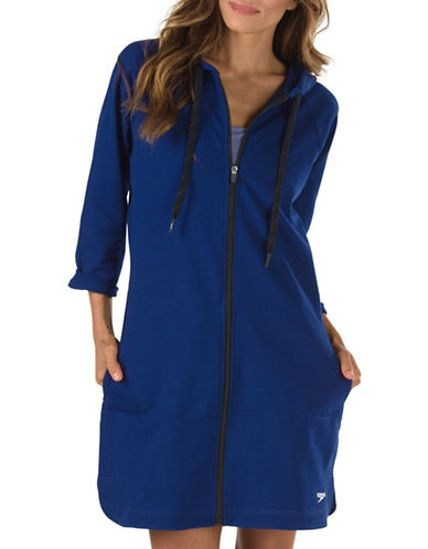 Speedo Aquatic Fitness Hooded Robe-BLUE-Small