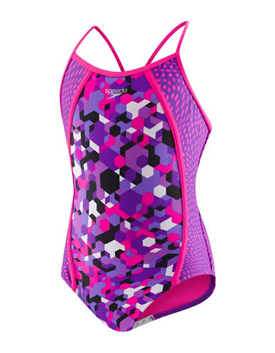 Speedo One-Piece Printed Swimsuit-PURPLE-12