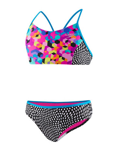 Speedo Two-Piece Printed Bikini Set-BLACK-14