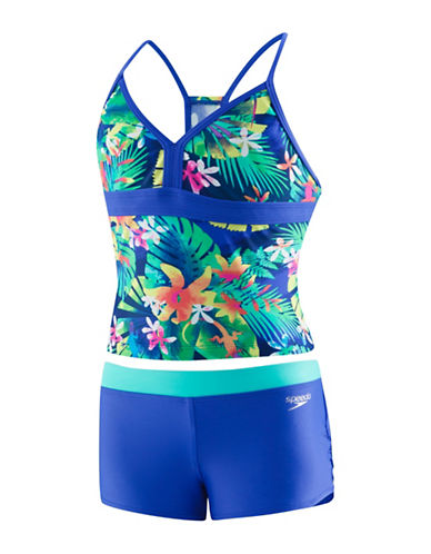 Speedo Two-Piece Botanical Tankini Set-BLUE-14