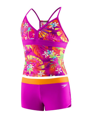 Speedo Two-Piece Botanical Tankini Set-PINK-8