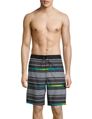 Speedo Ingrain Stripe Board Shorts-BLACK-Medium