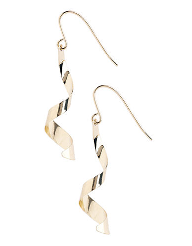 Fine Jewellery 14K Yellow Gold Twirl Drop Wire Earrings-YELLOW GOLD-One Size