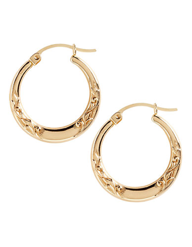 Fine Jewellery 14K Yellow Gold Small Leaf Pattern Hoop Earrings-YELLOW GOLD-One Size
