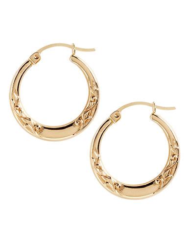 Fine Jewellery 14K Yellow Gold Small Leaf Pattern Hoop Earrings-YELLOW GOLD-One Size