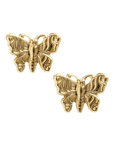 Fine Jewellery 14K Yellow Gold Tailored Butterfly Button Earrings-YELLOW GOLD-One Size
