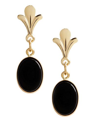 Fine Jewellery 14K Yellow Gold Onyx Drop Earrings-GOLD-One Size