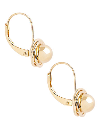 Fine Jewellery 14K Yellow Gold 3 Ring And Ball Leverback Earrings-YELLOW GOLD-One Size
