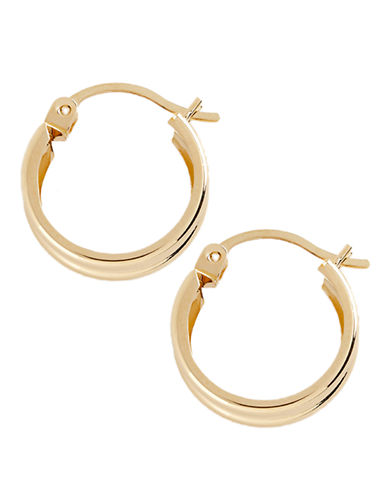 Fine Jewellery 14K Yellow Gold Ribbed Hoop Earrings-YELLOW GOLD-One Size