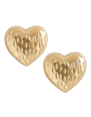 Fine Jewellery 14K Yellow Gold Diamond Cut Heart Button Earrings-YELLOW GOLD-One Size