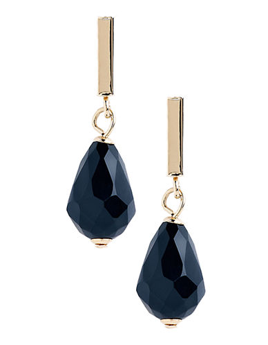 Fine Jewellery 14K Yellow Gold Onyx Drop Earrings-ONYX-One Size