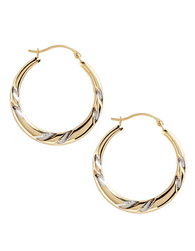 Fine Jewellery 14K Yellow And White Gold Etched Hoop Earrings-TWO TONE COLOUR-One Size