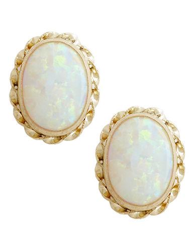 Fine Jewellery 14K Yellow Gold Created Opal Earrings-OPAL-One Size