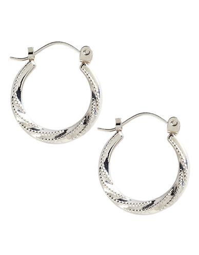 Fine Jewellery 14K White Gold Swirl And Beaded Pattern Hoop Earrings-WHITE GOLD-One Size
