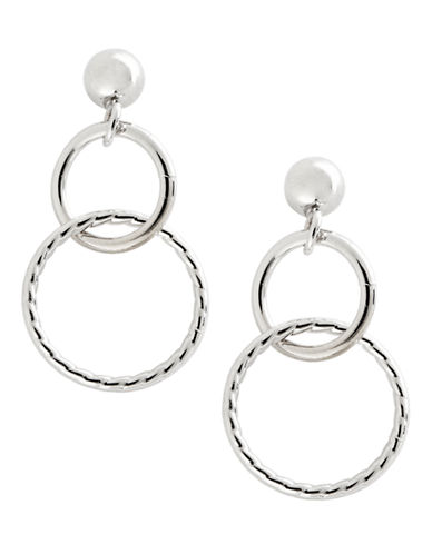Fine Jewellery 14K White Gold Interlocking Circle Earrings-WHITE GOLD-One Size