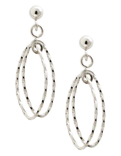 Fine Jewellery 14K White Gold Two Oval Open Drop Post Earrings-WHITE GOLD-One Size
