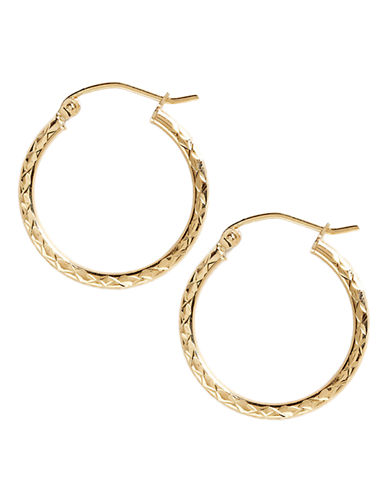 Fine Jewellery 14K Yellow Gold Diamond Cut Hoop Earrings-YELLOW GOLD-One Size