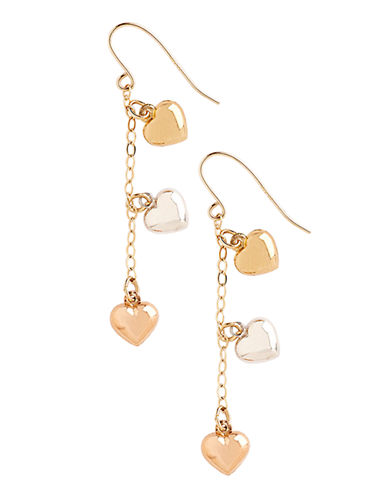 Fine Jewellery 14K Tri Colour Heart Drop Earrings-TRI COLOUR-One Size
