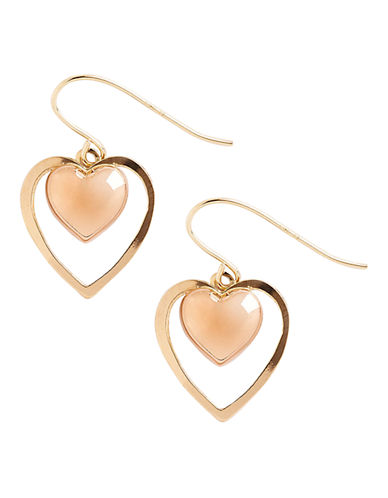 Fine Jewellery 14K Yellow And Rose Gold Two Heart Drop Earrings-GOLD-One Size