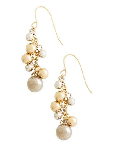 Fine Jewellery 14K Yellow And White Gold Multi Bead Drop Earrings-TWO TONE COLOUR-One Size