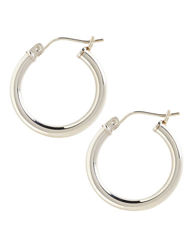 Fine Jewellery 14K White Gold Tube Hoop Earrings-WHITE GOLD-One Size