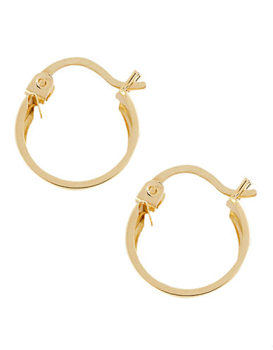 Fine Jewellery 14K Yellow Gold Small Polished Band Hoop Earrings-YELLOW GOLD-One Size
