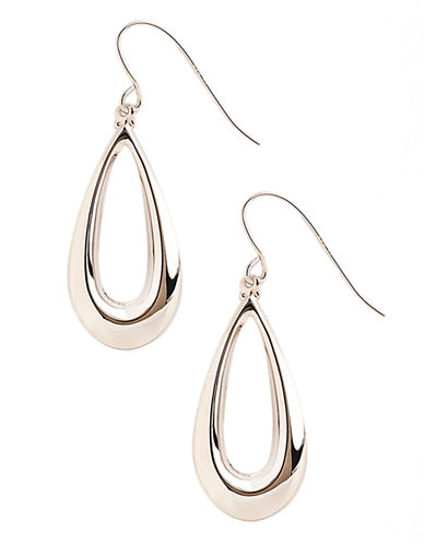 Fine Jewellery 14K White Gold Teardrop Earrings-WHITE GOLD-One Size