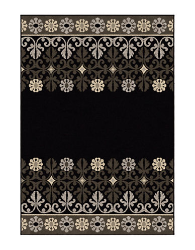 Home Outfitters Crewel Border Area Rug-BLACK-5 x 8