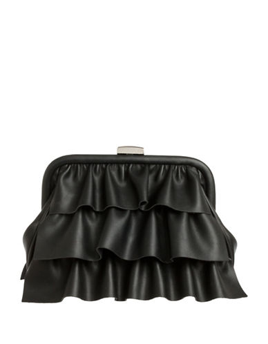 Nine West Dafnee Ruffled Clutch-BLACK-One Size