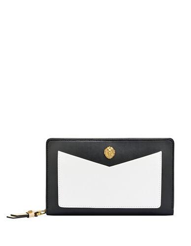 Anne Klein V-Pocket Zip-Around Wallet-BLACK-One Size