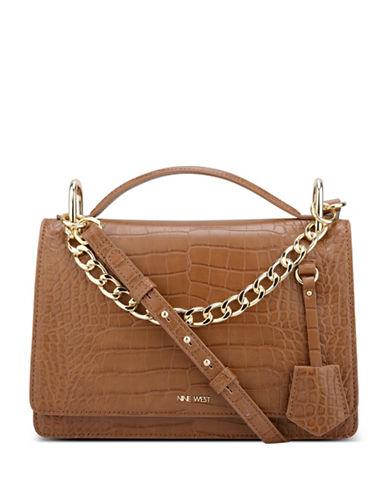 Nine West Croco Shoulder Bag-BROWN-One Size