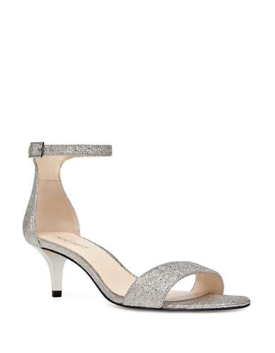 Nine West Strappy Glitter Sandals-PEWTER-7