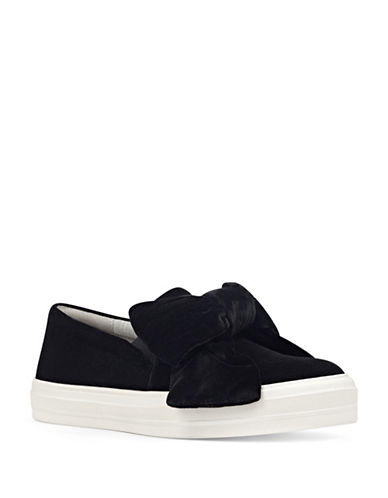 Nine West Velvet Bow Slip-On Sneakers-BLACK-8