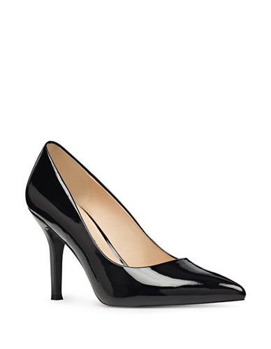 Nine West Monochrome Leather Pumps-BLACK-9