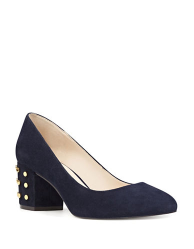 Nine West Studded Block Heel Suede Pumps-BLUE-8.5