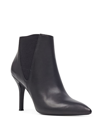 Nine West Pointed Toe Suede Booties-BLACK-7.5