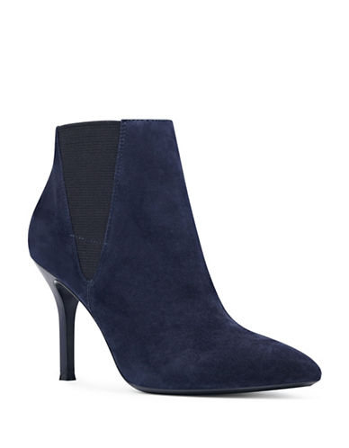 Nine West 9X9 Front Suede Chelsea Booties-BLUE-9.5