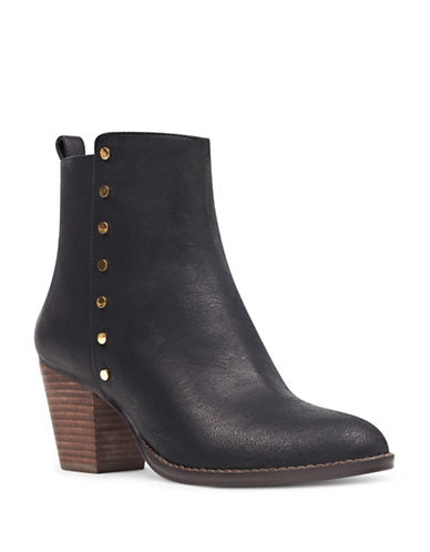 Nine West Studded Western Leather Booties-BLACK-5.5